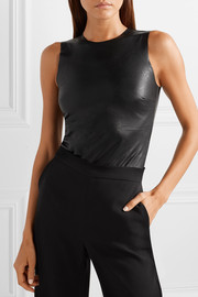 Commando Faux stretch-leather and stretch-jersey bodysuit