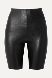 Faux stretch-leather shorts