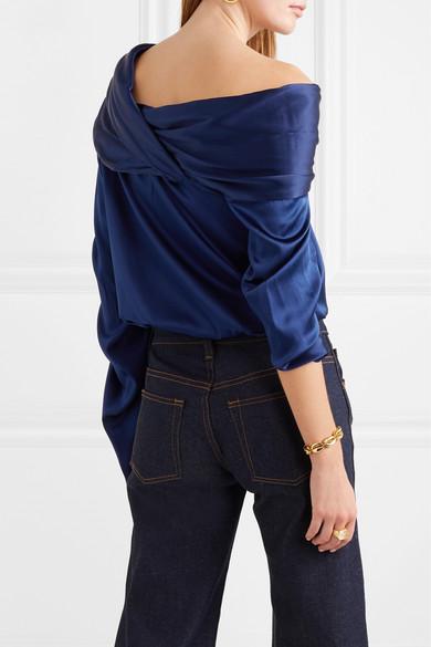a1640b5acdf933 Hellessy   Sunshine draped asymmetric silk-charmeuse blouse   NET-A ...
