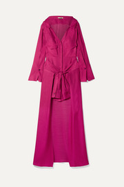 Knotted linen and silk-blend jacquard maxi dress