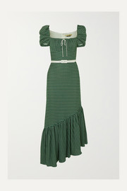 Belted asymmetric crocheted cotton dress