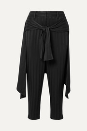 Sentry cropped tie-detailed jacquard straight-leg pants