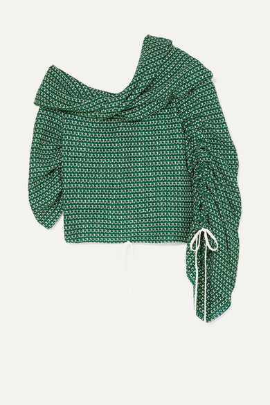 Hellessy SUNSHINE ONE-SHOULDER CROCHETED COTTON TOP