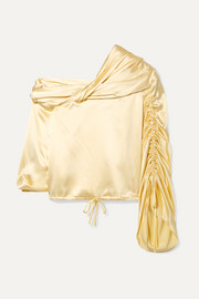 Sunshine draped asymmetric silk-charmeuse blouse