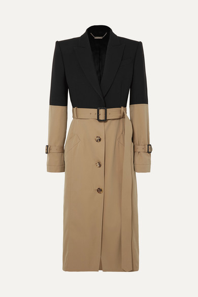 ALEXANDER MCQUEEN | Alexander McQueen - Belted Two-tone Cotton Coat - Beige | Goxip