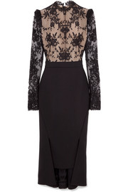 Open-back lace and wool-crepe dress