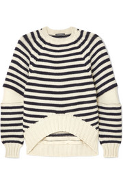 Zip-embellished striped wool sweater