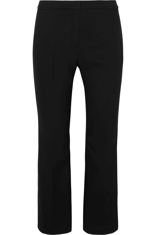 Alexander McQueen Cropped satin-trimmed wool-blend straight-leg pants