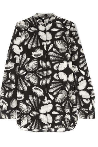 Alexander Mcqueen Tops Printed silk-crepe blouse