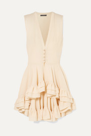 Ruffled silk-crepe top