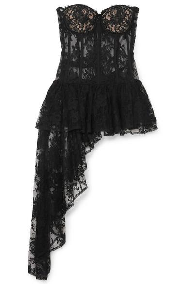 30ad3bbf8e7 Draped cotton-blend sarabande lace bustier top