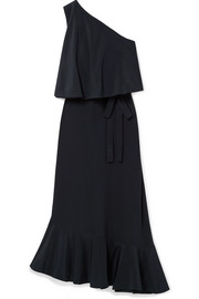 Stella McCartney Asymmetric one-shoulder silk crepe de chine midi dress