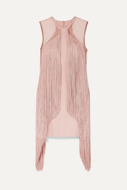 Tulle-paneled fringed stretch-cady mini dress