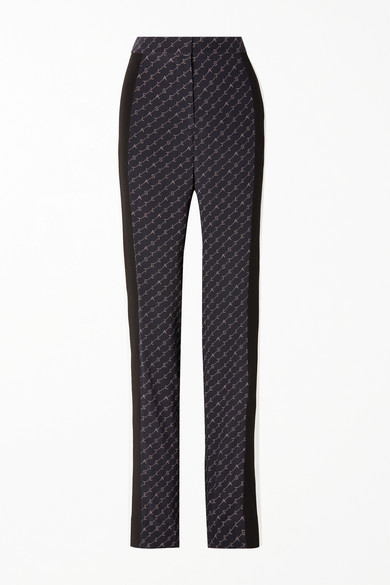 Printed Silk Crepe De Chine Straight-Leg Pants in Navy