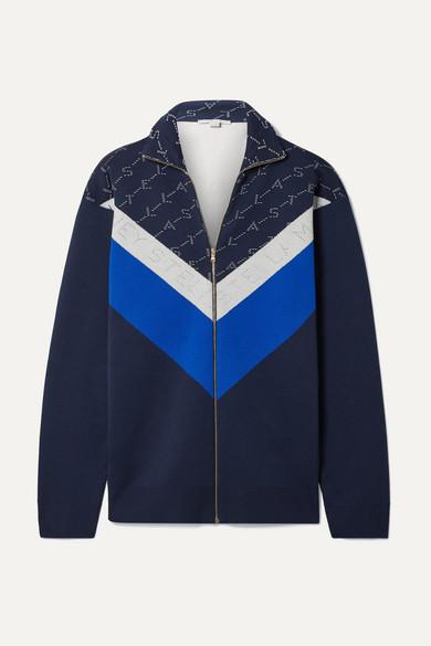 STELLA MCCARTNEY | Stella McCartney - Intarsia Stretch-knit Track Jacket - Navy | Goxip
