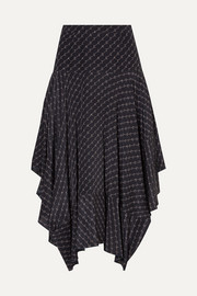 Asymmetric printed silk midi skirt