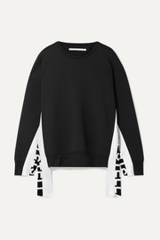 Stella McCartney Intarsia-trimmed cotton-blend jersey sweatshirt