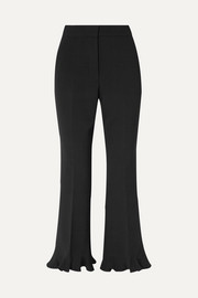 Stella McCartney Cropped ruffled wool-blend flared pants