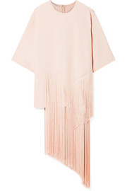 Stella McCartney Asymmetric fringed stretch-cady top