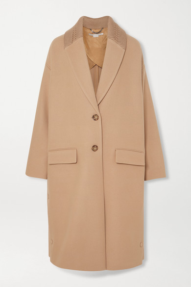 Camel Wool Trim Long Jacket