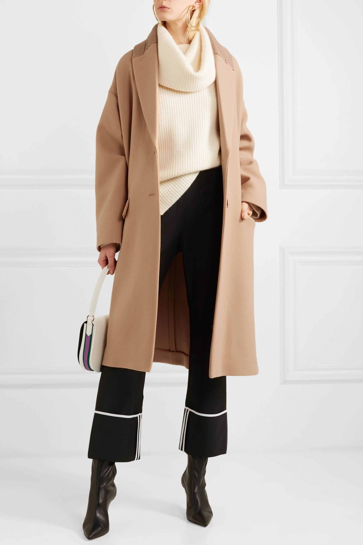 Stella McCartney Knit-trimmed wool coat