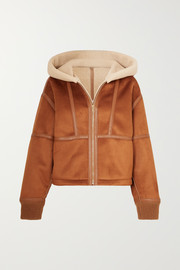 Stella McCartney Hooded faux leather-trimmed faux shearling and suede jacket