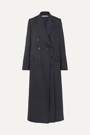 Double-breasted pinstriped wool-blend coat