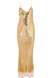 Bernice open-back sequined silk-mousseline gown