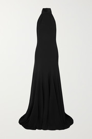 Halterneck stretch-cady gown