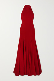 Stretch-crepe halterneck gown