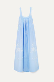 Oversized embroidered cotton-poplin maxi dress