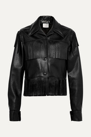 Fringed faux textured-leather jacket