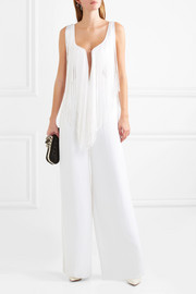 Tulle-trimmed fringed cady jumpsuit