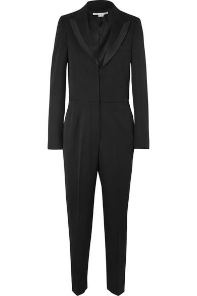Poplin-Trimmed Wool-Twill Jumpsuit in Black