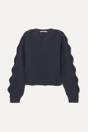 Stella McCartney Cropped scalloped ribbed cotton and wool-blend sweater