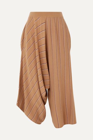 Wool Pinstripe Knit Asymmetric Pants in Camel