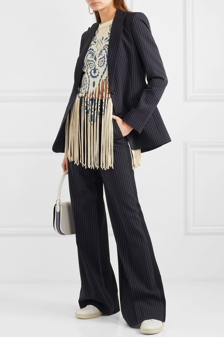 Stella McCartney Two-tone pinstriped wool wide-leg pants