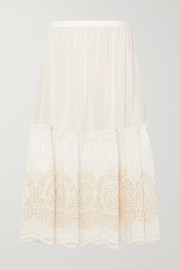 Stella McCartney Tiered broderie anglaise silk midi skirt