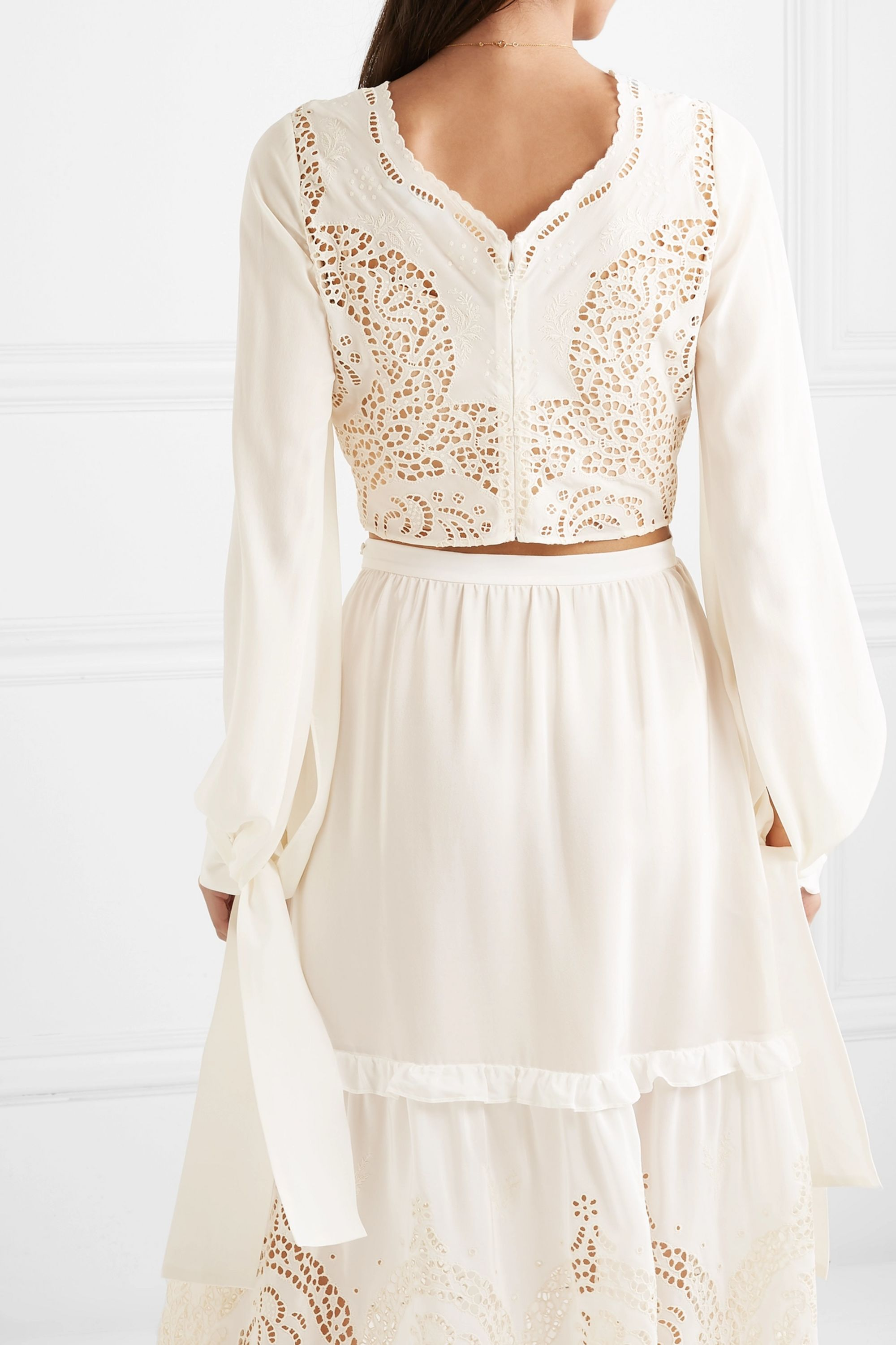 Stella McCartney Cropped broderie anglaise silk top