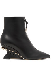 Blevio studded leather wedge ankle boots