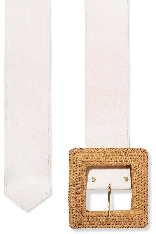 Cult Gaia Sylvie linen and rattan belt