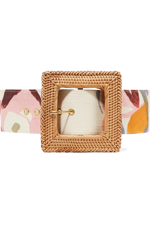 Cult Gaia Sylvie printed linen and rattan belt