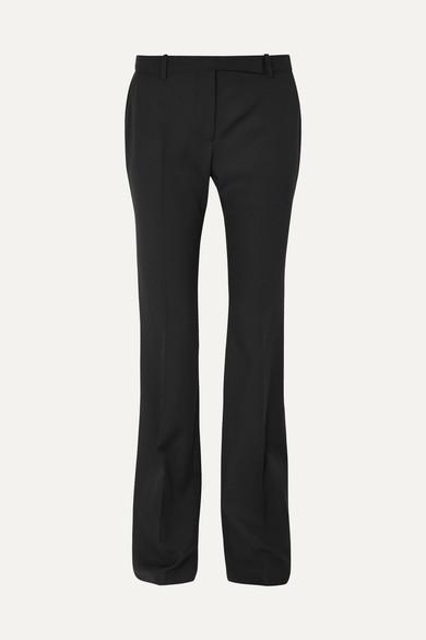 ALEXANDER MCQUEEN   Alexander McQueen - Grain De Poudre Wool Flared Pants - Black   Goxip