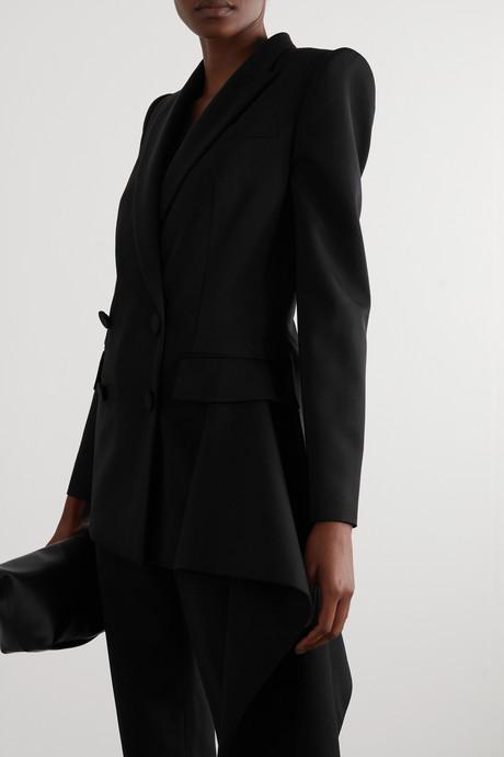 Asymmetric draped grain de poudre wool blazer