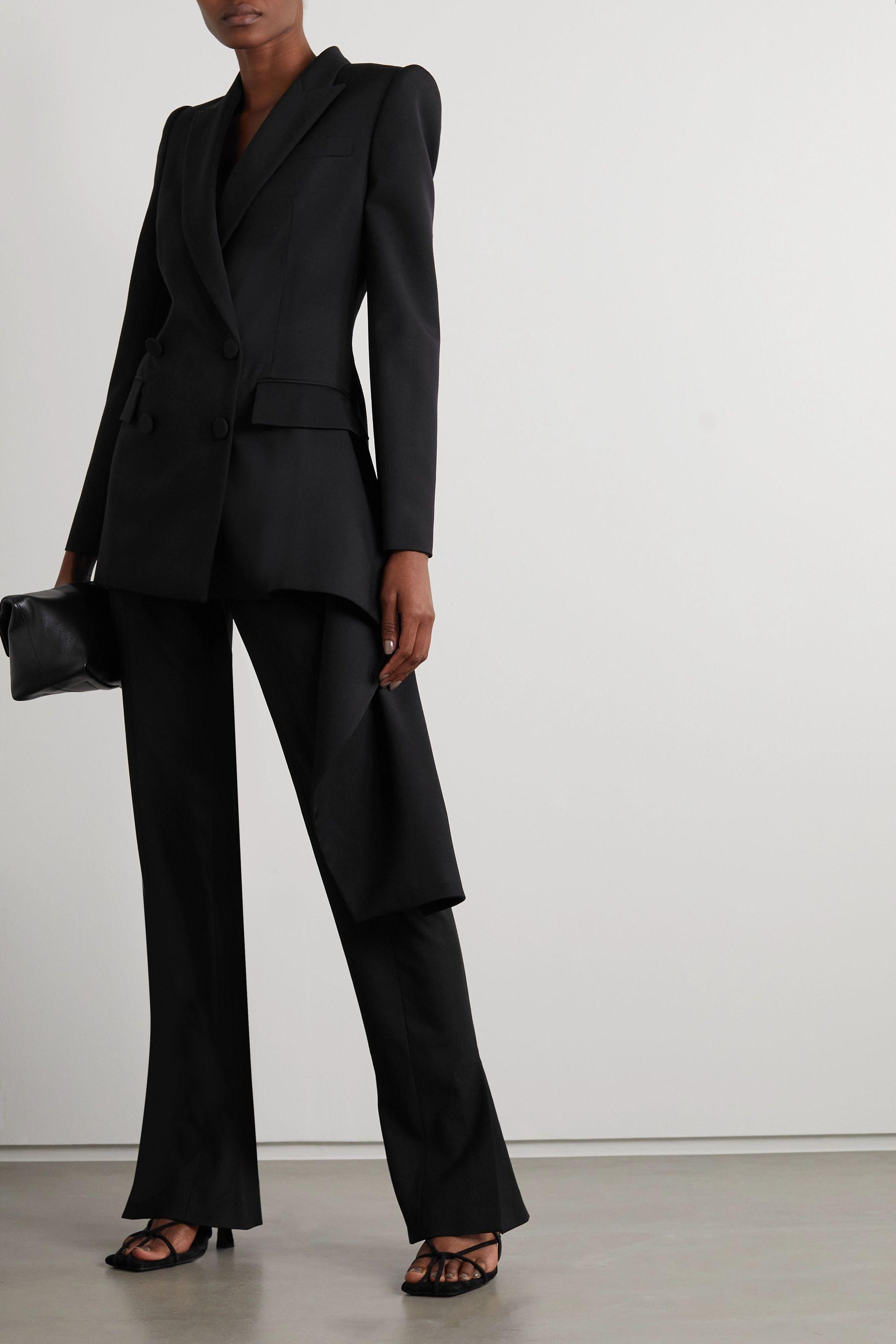 Alexander McQueen Asymmetric draped grain de poudre wool blazer