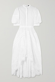 Alexander McQueen Asymmetric pleated broderie anglaise poplin dress