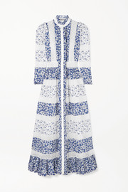 Alexander McQueen Crocheted lace-trimmed floral-print cotton-poplin maxi dress