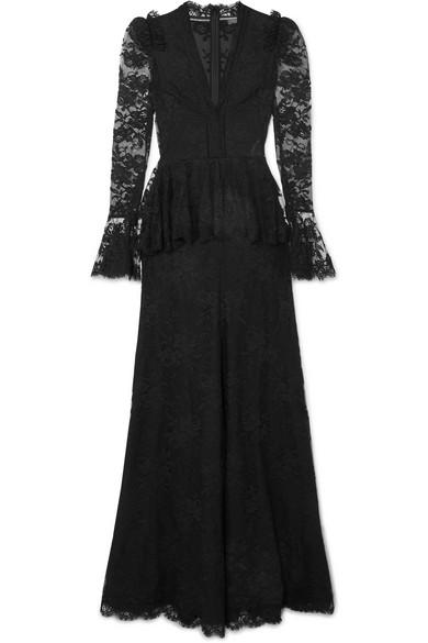 Alexander McQueen - Cotton-blend lace peplum gown