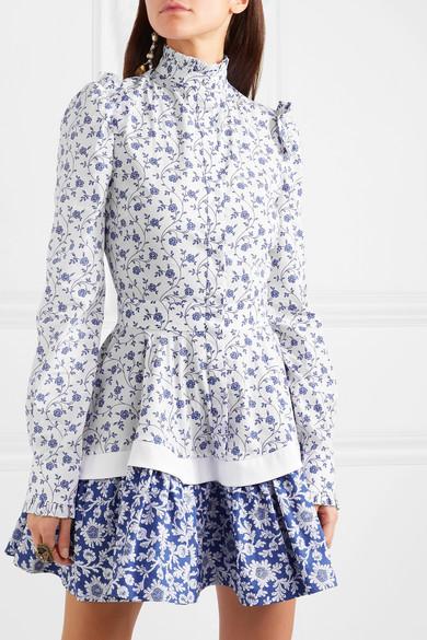 Floral-print ruffled cotton-poplin mini dress