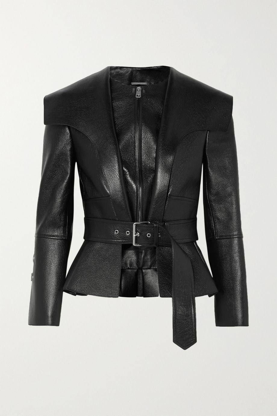 Alexander McQueen Textured-leather belted peplum jacket